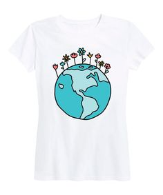 Instant Message Womens White Earth Flowers Relaxed-Fit Tee - Women & Plus | Best Price and Reviews | Zulily