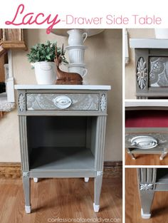 Lacey -Drawer Side Table- using a lacy curtain panel as a stencil