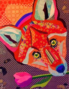 "Cut paper collage art, 16""x20"" ""Friendly Fox"" by Laura Yager. Fox artwork, abstract animal artwork, fox art"