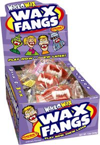 Personally, when I was a kid, I always thought these wax fangs were pretty gross! But they're definitely a Halloween classic. Made by Tootisie, the Wack-O-Wax fangs are peanut-free and gluten-free.