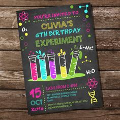 Science Experiment Party Invitation for a Girl by SunshineParties