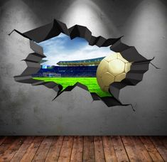 Items similar to Football Stadium Wall Decal Cracked Full Colour Wall Art Sticker Footballer Boy Girls Bedroom Decal Mural on Etsy Childrens Wall Decals, 3d Wall Decals, Framed Wall Art, Wall Murals, Wall Stickers, Sport Bar Design, Boy Girl Bedroom, Wall Art Wallpaper, Graffiti Wall