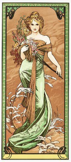 Art Nouveau lady in green gown Alphonse Mucha European art poster print SKU3945 | eBay  --more mucha