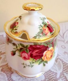 Royal Albert Old Country Roses Jam Pot / Preserve Pot. 1st Quality, very good condition vintage jam jar / honey pot / marmalade pot. by PrettyVintageHome on Etsy