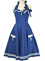 #hell bunny In the Navy Halter Dress at PLASTICLAND  I bought this one.  Looks great on!  Very swingy!