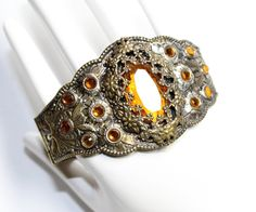 Art Deco Gold Coloured Sparkly Amber Yellow Rhinestone Diamante Czech Bohemian Bangle Bracelet (c1930s) - Wedding by GillardAndMay on Etsy