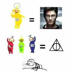 TELETUBBIES = HARRY POTTER(& the deathly hallows). Wait wHAT? Does this mean the other one was harry Potter and the red green and blue ones were the three brothers? Seriously someone explain this to me! Harry Potter Jokes, Harry Potter Pictures, Harry Potter Fandom, Harry Potter Tumblr Funny, Harry Potter Things, Harry Potter Fun Facts, Harry Potter Disney, Cute Harry Potter, Hogwarts