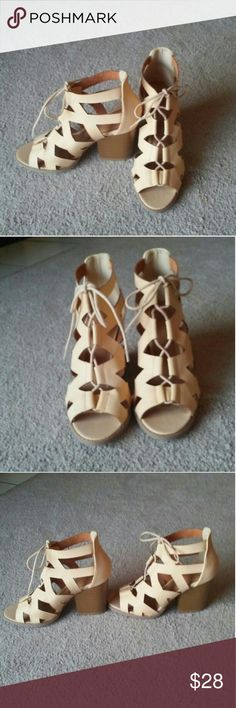 NWT Charlotte Russe heels NEW WITH TAGS NEVER WORN Beige tan nude High heel lace up booties Size 7 Paid $40.99 + tax! CHEAPER WHEN BUNDLED WITH OTHER ITEMS IN MY CLOSET Charlotte Russe Shoes Heeled Boots