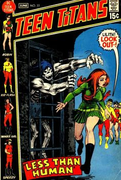 Teen Titans #33. Hooray! It's Gnarrk the caveman! One of the very first super-hero comics I ever owned. I assume the cover's by Nick Cardy. #TeenTitans #Cavemen