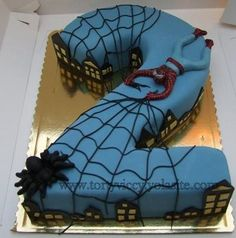 Inspiration for next week's pink all spiderman cake Fancy Cakes, Cute Cakes, All Spiderman, Novelty Birthday Cakes, Number Cakes, Superhero Cake, Cakes For Men, Baby Kind, Creative Cakes