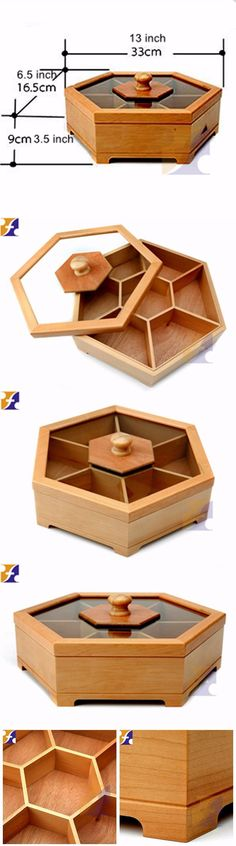 #Hexagon Wood Food Display Jewelry Packaging Box# FirstSail--12 years packaging design & production ODM & OEM Expert.  Tel: 86-755-84276478  Email: info@firstsailpack.com