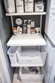 Around the Home: Laundry Closet Makeover – Shutterbean – Dorm Room İdeas 2020 Laundry Room Organization, Laundry Room Design, Bathroom Organisation, Organize Bathroom Cabinets, House Organization Ideas, Laundry Detergent Storage, Laundry Sorter, Wardrobe Organisation, Laundry Decor