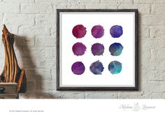 Printable Art Circles in purple and blue Watercolor art prints Wall Art Download Watercolor