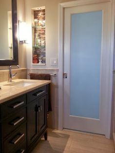 Small Master Bathroom-   Glass pocket door to let ... | decorating id…