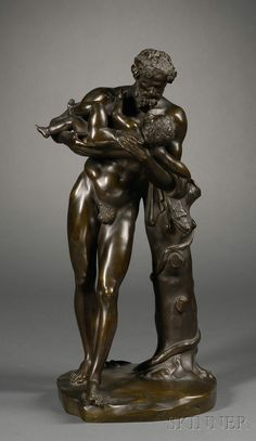 Grand Tour Bronze Figure of Dionysus with Infant Bacchante, 19th century, the standing figure modeled holding an infant in his arms.