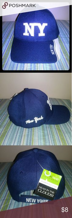 Cloud Nine Head Wear NY Baseball Cap-NWT Men's Navy Blue NY Baseball Cap Cloud Nine Accessories Hats
