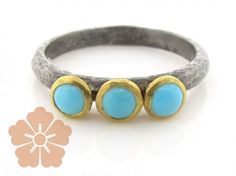 Sterling Silver Layered with Blackened Silver and 24K Gold Skittle Ring featuring Turquoise by GURHAN