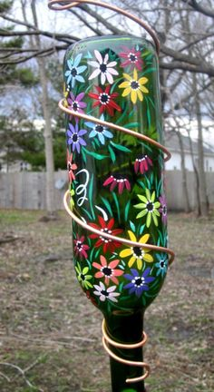 Hummingbird Feeder Recycled Dark Green Wine Bottle Hand