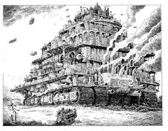 London traction city drawing by Philip Reeve. I do wish there was a comic book version of the Mortal Engines series. (I agree) Fantasy Landscape, Fantasy Art, Predator Cities, London Drawing, Mortal Engines, Arte Robot, City Drawing, Arte Obscura, Sombre