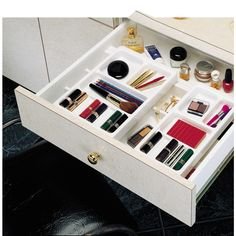 Buy the Rev-A-Shelf Glossy White Direct. Shop for the Rev-A-Shelf Glossy White COSK Series Wide Base Cosmetic Tray with 2 Top Rolling Trays and save. Bathroom Drawer Organization, Organization Hacks, Medicine Organization, Organize Bathroom Drawers, Organize Vanity, Organizing Drawers, Organize Room, Organized Bathroom, Bathroom Closet