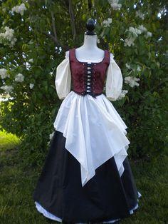 Complete Renaissance Costume, Corset, Chemise, Overskirt, Underskirt