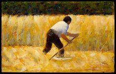 The Mower / Georges Seurat / 1881-82 / oil on wood / at the Met