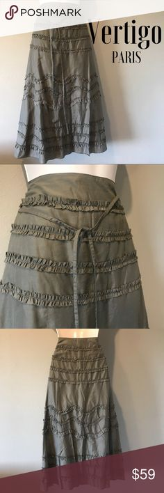 NWT Vertigo Paris Cotton Long Skirt, Large Beautiful Khaki cotton skirt Embellished with ruffles. Zippered closure, fully lined.  Size is Large Vertigo Paris Skirts