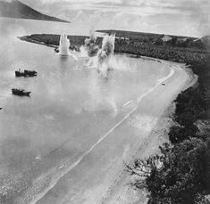 Aircraft hit by bomb blast of preceding plane while attacking an enemy ship on Hansa Bay, New Guinea. - New Guinea during World War II 18  Best of Web Shrine