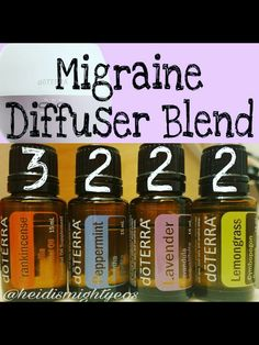 Migraine Essential Oils Diffuser Blend ••• Buy dōTERRA essential oils online at www.mydoterra.com/suzysholar, or contact me suzy.sholar@gmail.com for more info.