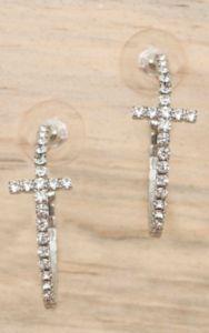 Silver with Clear Crystals Cross Hoop Earrings | Cavender's