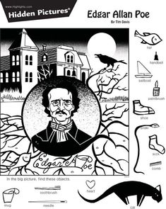 Childrens Word Search, Hidden Pictures Printables, Highlights Hidden Pictures, Hidden Picture Puzzles, Hidden Words, Paper Games, Hidden Objects, Word Puzzles, Edgar Allan Poe