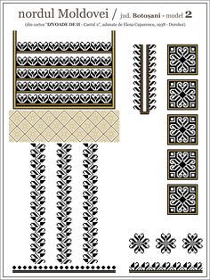 Semne Cusute: iie din nordul MOLDOVEI, Botosani Simple Cross Stitch, Cross Stitch Borders, Cross Stitch Patterns, Folk Embroidery, Embroidery Patterns, Knitting Patterns, Thread Art, Embroidery Techniques, Hobbies And Crafts