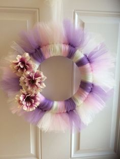 spring tulle wreath, flower tulle wreath, pink purple wreath, pink flower wreath, tulle wreath, spring decor, decor gift, tutu spring wreath by AfonsoWay on Etsy