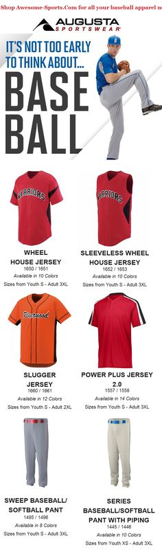 Shop our site for baseball apparel you need to look good on the diamond. Our wide array of baseball jerseys, baseball pants, baseball socks, and baseball belts are perfect for the big game, practice or just playing ball in the field. Baseball Uniforms, Team Uniforms, Baseball Jerseys, Baseball Shop, Baseball Socks, Augusta Sportswear, Custom Socks, Custom Clothes