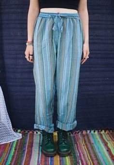 FAIRTRADE BLUE TURQUOISE STRIPED HIPPIE TROUSERS PANTS
