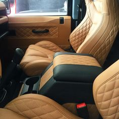 Quilted leather interior on the Defender custom made in tan with black stitching and detailing Automotive Upholstery, Car Upholstery, Custom Car Interior, Truck Interior, Nissan Patrol, Kahn Design, Patrol Gr, Vw Lt, Mk1