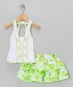 Take a look at this Green Floral Ruffle Halter Top & Skirt - Toddler & Girls by Lele for Kids on #zulily today!