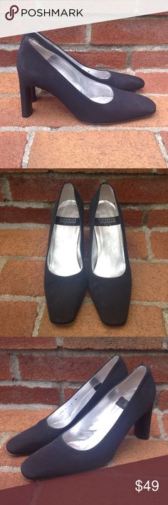 Vintage Charles Jourdan Pumps Vintage Charles Jourdan Paris pumps in black fabric with a leather sole from the 1980s. Size 7M. Made in Spain. Excellent vintage condition. Despite their age, I believe these have only been worn once. Charles Jourdan Shoes Heels