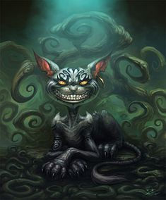 This is one of the initial concept art painting of the Cheshire Cat for Tim Burton's Alice in Wonderland. Cheshire Cat Drawing, Cheshire Cat Quotes, Chesire Cat, Alice Madness Returns, Alice Liddell, Arte Horror, Horror Art, Cheshire Cat Zeichnung, Gato Alice
