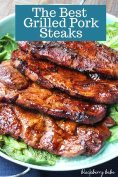 Barbecued Pork Shoulder Steaks | Marinated Pork Steaks | Beer Marinade | Pork Spice Rub | Grilled Pork Shoulder Steaks | Grilled Pork Steaks | Barbecued Pork Steaks | BBQ Pork Steaks | #pork @nationalporkboard #ad