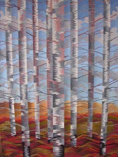 Weaving - Birches - Louise Oppenheimer Tapestry