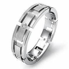 Round Bezel Diamond Cut Eternity Wedding Mens Band Ring 14k White Gold 0 15ct