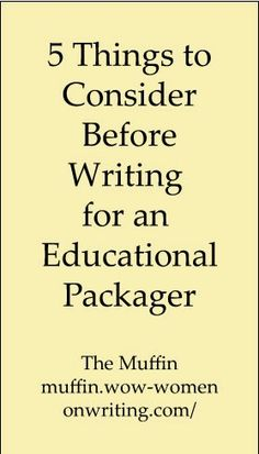 WOW! Women On Writing Blog: Writing for Educational Packagers: Is It for You?
