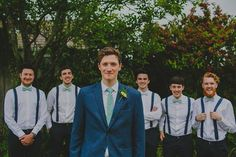 groom with mint tie and blue suit and groomsmen in braces and bow ties | www.onefabday.com Groom Outfit, Groom Attire, Groom And Groomsmen, Groom Suits, Wedding Wear, Wedding Groom, Rustic Wedding, Dream Wedding, Wedding Dresses