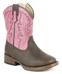 Look at this #zulilyfind! Brown & Pink Cowboy Boot by Roper #zulilyfinds