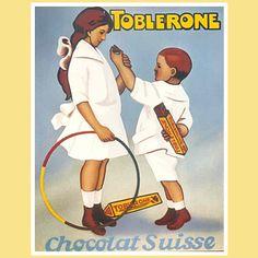 Spielende Kinder Ein anderes TOBLERONE Plakat aus dem ersten Drittel des 20. Jahrhunderts setzt spielende Kinder in den Mittelpunkt. Wohlgenährte und vergnügte Kinder gelten damals als Symbol für Gesundheit.