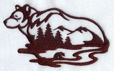 mountain lion Silhouette | ... Embroidery Designs at Embroidery Library! - Bear Silhouette Scene