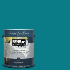 1-Gal. #UL220-1 Caribe Interior Satin Enamel Paint-775301 at The Home Depot    Accent wall color (behind the floating shelves & TV)
