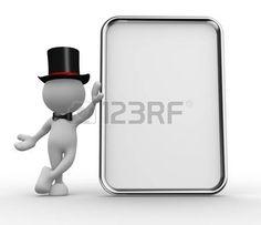 3d personas - hombres, persona con una tarjeta en blanco. photo