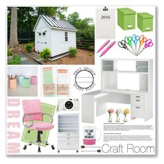"""""""Dream Craft Room"""" by lisajean1957 ❤ liked on Polyvore featuring interior, interiors, interior design, home, home decor, interior decorating, Bush Furniture, Bigso, ICE London and Universal Lighting and Decor"""